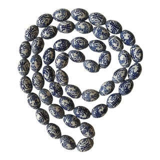 Chinese Blue & White Porcelain Beads with Bats