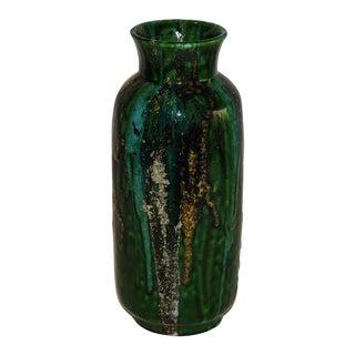 Raymor Hi-Glaze Green Drip Ceramic Vase, Italy, 1950