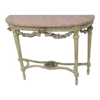 French Carved Paint Distressed Console Table