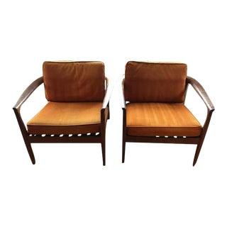 Dux Danish Modern Teak Barrel Back Chairs - a Pair