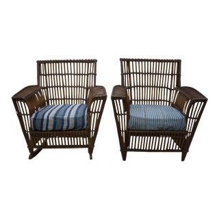 Heywood-Wakefield Club Chair & Rocking Chair - A Pair