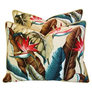 Large Custom Tropical Bird of Paradise Feather/Down Pillows - a Pair