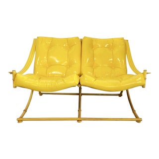Yellow Vinyl Faux Bamboo Settee