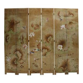 Chinese Golden Oriental Lotus Flower Birds Graphic Screen