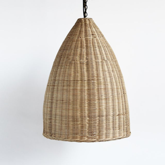 Medium Raw Rattan Pod Lantern - Image 3 of 4
