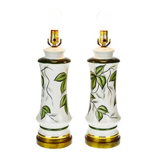 Vintage Ceramic Hand Painted Table Lamps - A Pair