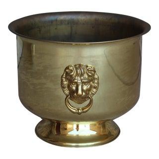 Brass Lion Head Jardiniere