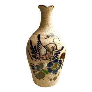 Vintage Mexican Enamel Bird Design Stoneware Jug