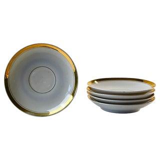 Mid-Century Cream & Gold Saucers - Set of 5