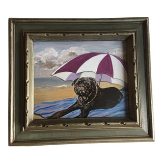 Black Pug on Beach Dog Print by Judy Henn