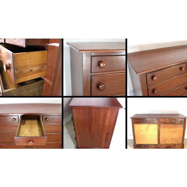Image of 1940s Solid Wood Low Double Drawers Dresser