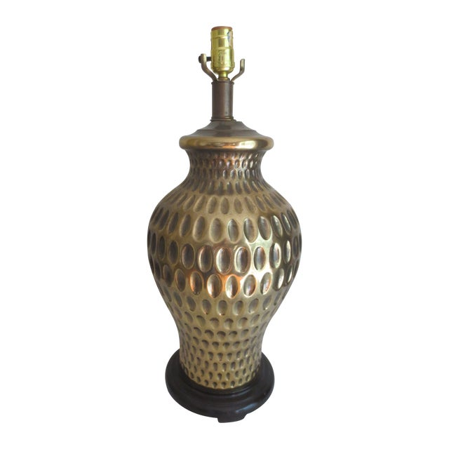 Large Brass Table Lamp With Thumbprint Design - Image 1 of 5