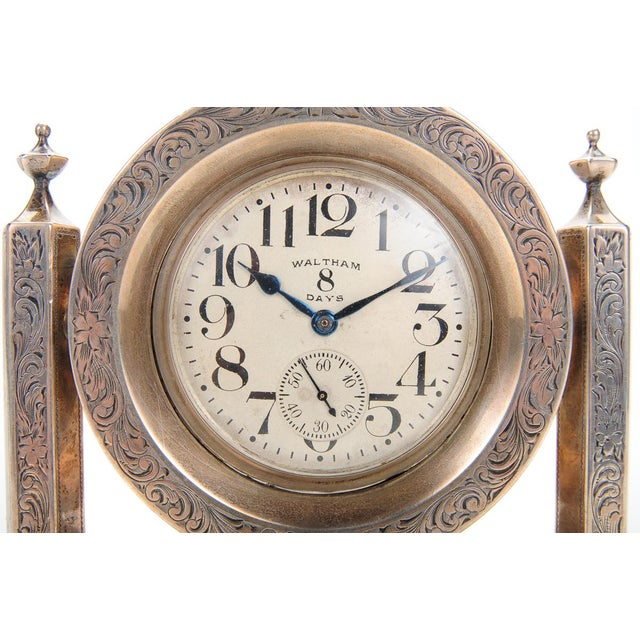 Image of Waltham 8 Days Desk Clock With Sterling Stand