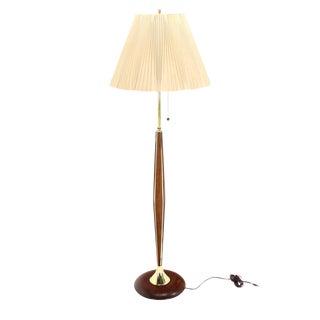 Walnut and Brass Mid-Century Modern Floor Lamp