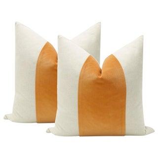 "22"" Hermés Orange Velvet Panel and Linen Pillows - a Pair"