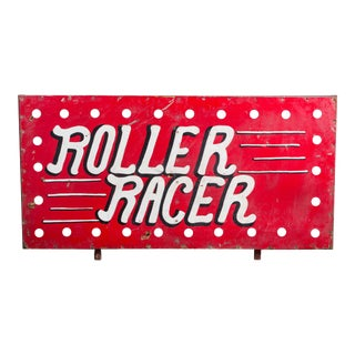 "1940s American Folk Art Carnival Midway ""Roller Racer"" Sign"