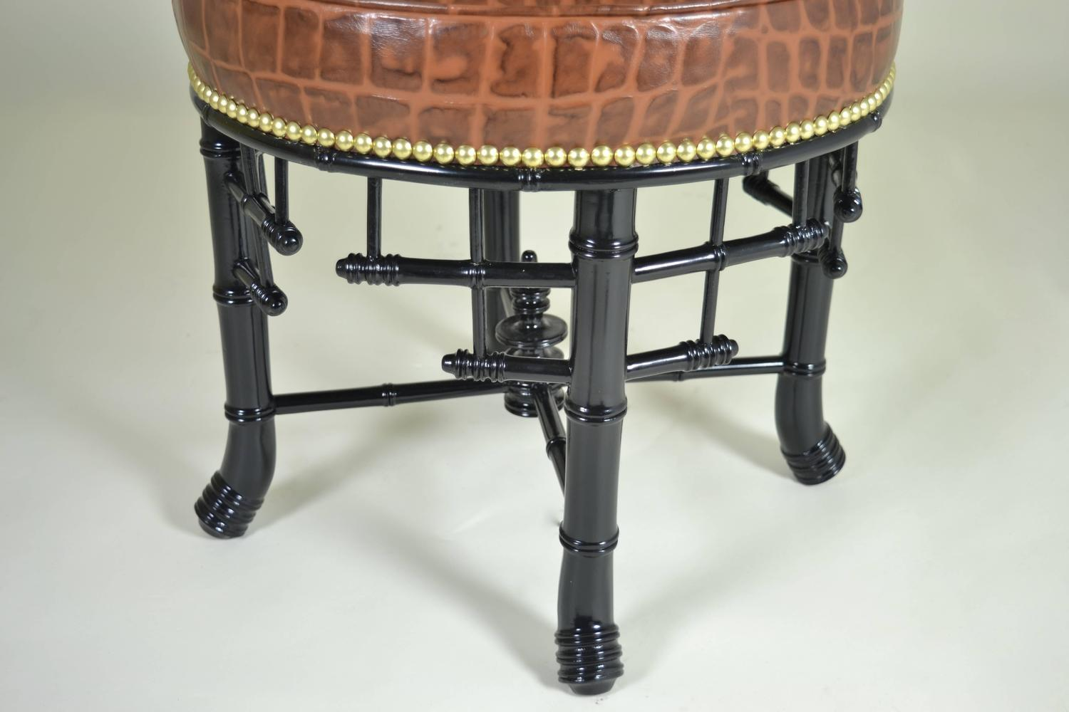 Regency Style Faux Bamboo Stool with Leather Cover - Image 4 of 7  sc 1 st  DECASO & Luxury Regency Style Faux Bamboo Stool with Leather Cover | DECASO islam-shia.org