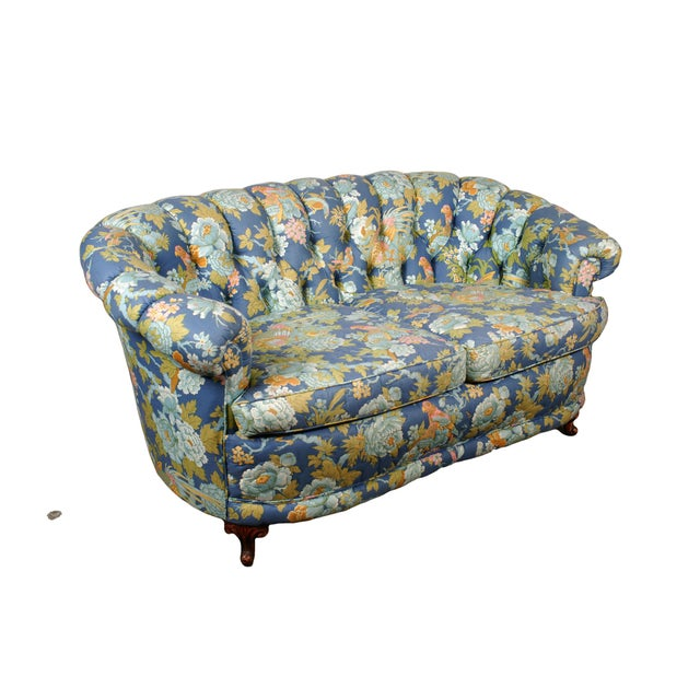 Tufted Loveseat with Parrot Upholstery - Image 2 of 5
