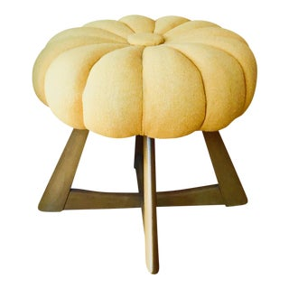 Heywood Wakefield Sculptura Vanity in Wheat & Pouffe Stool