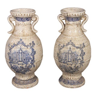 Delft Style Earthenware Blue Transfer Urns - A Pair