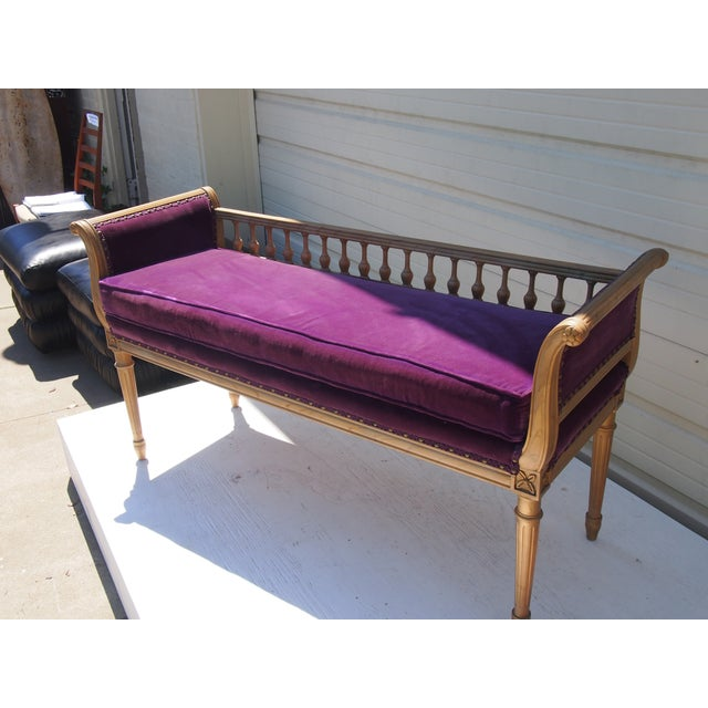 Purple Velvet Regency Style Bench Chairish