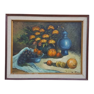 1975 W. Chanel Still Life Oil on Canvas Painting