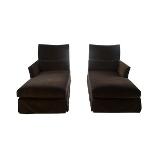 Lee Industries Chocolate Velvet Chaise Lounges - a Pair