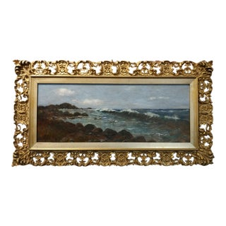 "Frank Lent ""Panoramic Seascape"" 19th Century Oil Painting"