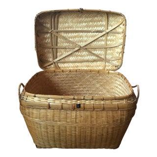 Vintage Woven Rattan & Wicker Storage Chest