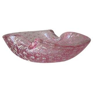 Alfredo Barbini Pink & Silver Murano Bowl