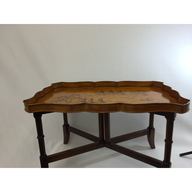 Faux Bamboo & Painted Metal Coffee Table - Image 3 of 6