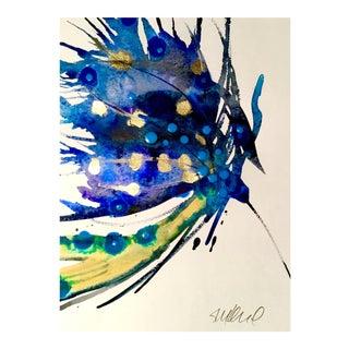 Peacock Blue Original Watercolor Painting