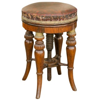 Round English Early 19th Century Regency Stool with Adjustable Red Leather Seat