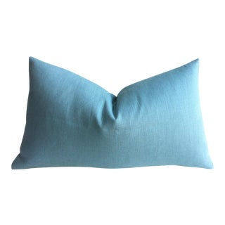 European Linen Light Aqua Blue Zipper Pillow Cover