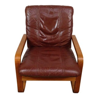 Leather Upholstered & Maple Armchair