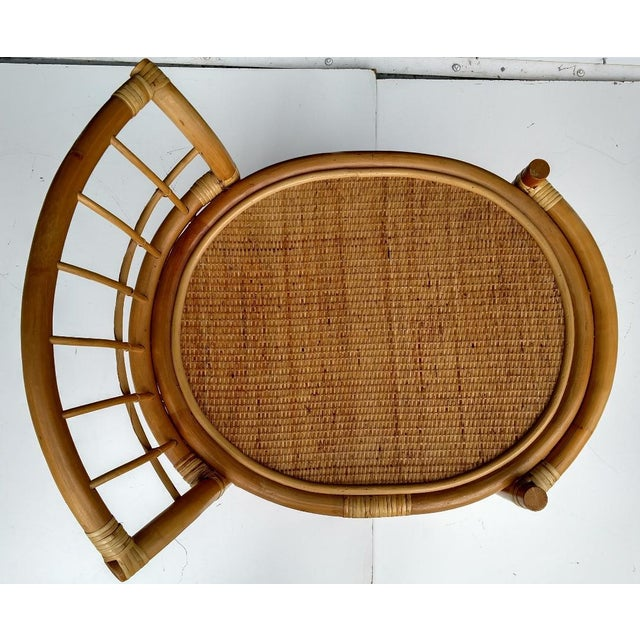 1970's Rattan 2-Tier Bar Cart with Swivel Casters - Image 6 of 8