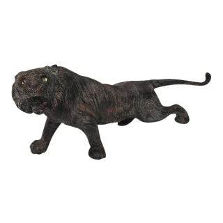 Rare 19th Century Iron Tiger Door Stop with Glass Eyes