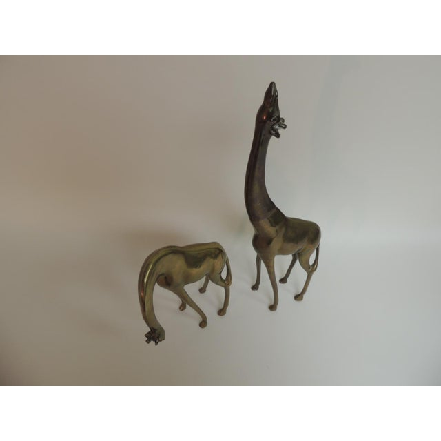 Mid-Century Modern Asian Brass Giraffes - A Pair - Image 3 of 4