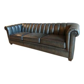 Bernhardt Distressed Black Leather Rolled Back Sofa