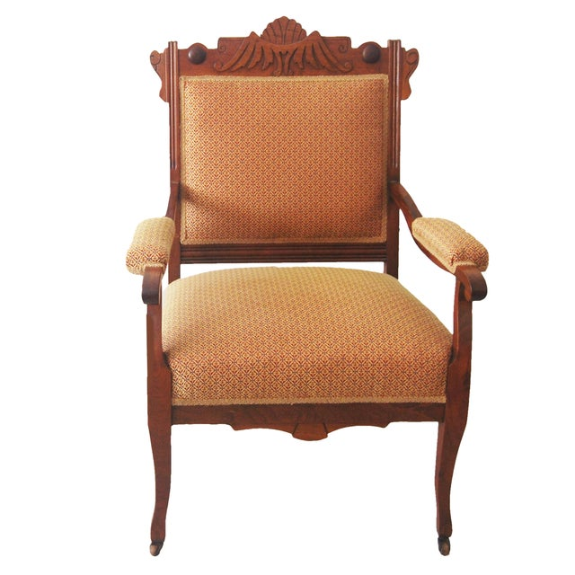 American Walnut & Upholstered Armchair - Image 1 of 10