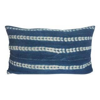 Vintage African Indigo Mudcloth Lumbar Pillow