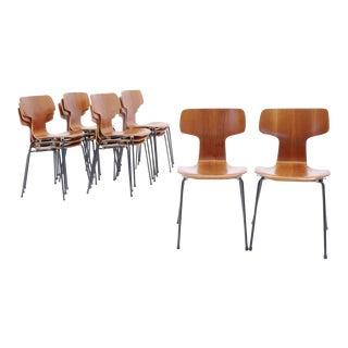 Arne Jacobsen Teak #3103 Stacking Chairs. Set of 12.