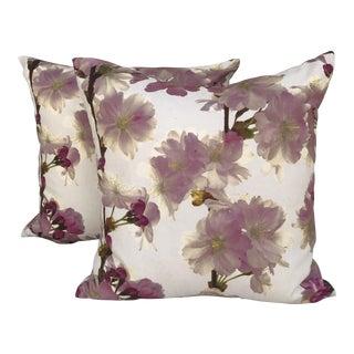 Pink Dogwood Floral Pillows - A Pair