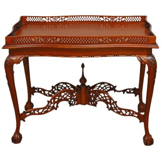 George III Chinese Chippendale Mahogany Silver Table