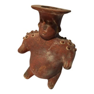 Sitting Central America Clay Man Vase