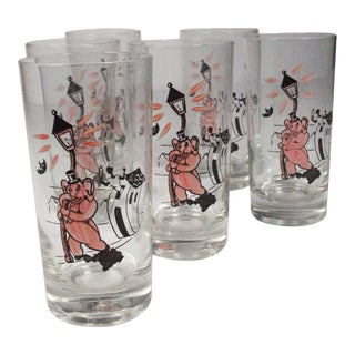Pink Elephant Highball Glasses - Set of 6