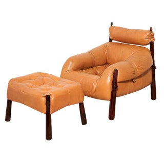 Percival Lafer Tan Leather Club Chair & Ottoman