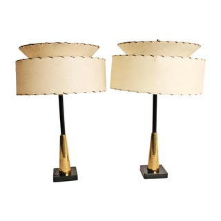 Mid-Century Table Lamps & Fiberglass Shades - Pair