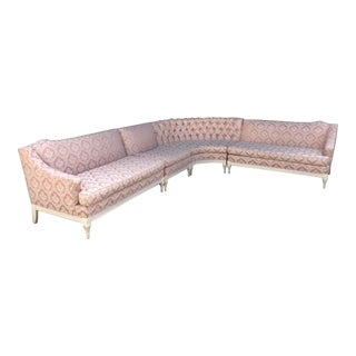 Vintage 4-Piece Hollywood Regency Pink Damask Tufted Sectional Sofa
