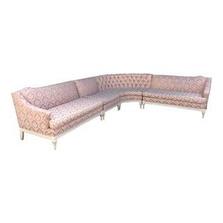 Vintage 4-Piece Hollywood Regency Pink Damask Tufted Sectional Sofa